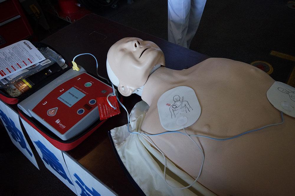 AEDの体験コーナー